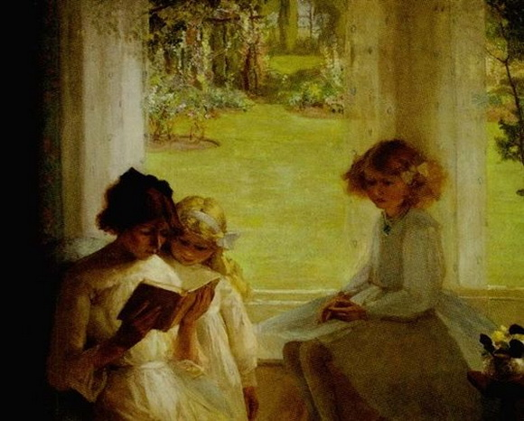 Garnet Ruskin Wolseley - Children Seated Near a Window Reading a Book