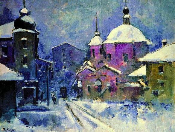 Александр Куприн - Городской пейзаж с розовой церковью. Сумерки