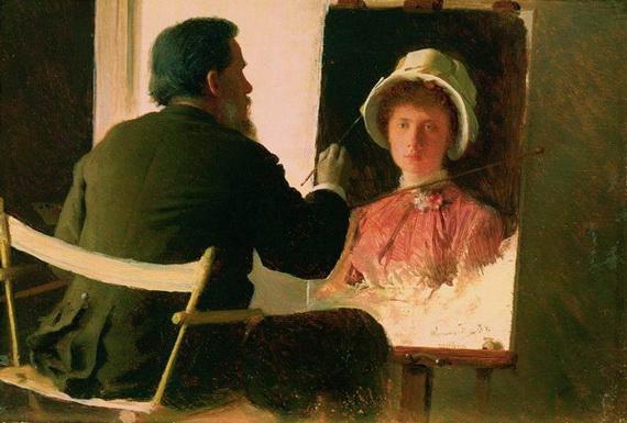 Kramskoy - Крамской, пишущий портрет своей дочери