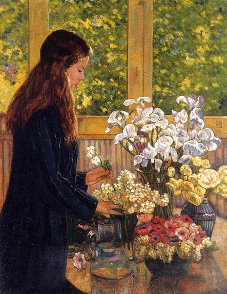 Theo van Rysselberghe - Young Girl with a Vase of Flowers
