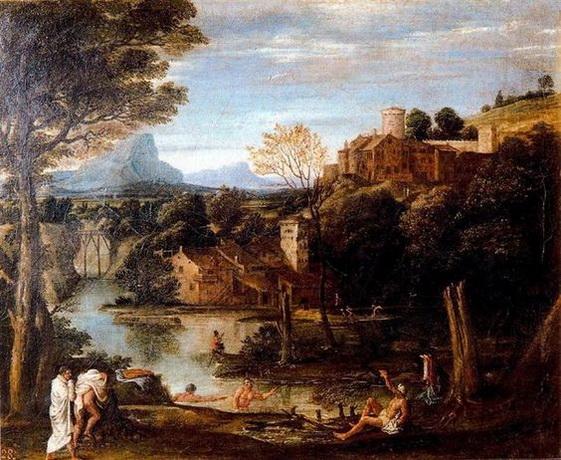 Annibale Carracci - Landscape with bathers