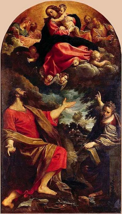 Annibale Carracci -The Virgin Appears to Saints Luke and Catherine