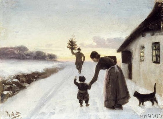 Hans Andersen Brendekilde - The Arrival of the Christmas Tree