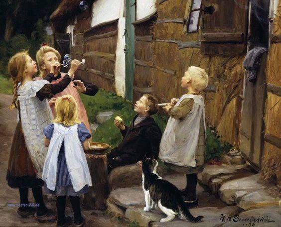 Hans Andersen Brendekilde - Se acerca la primavera con algunas burbujas