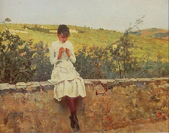 Telemaco Signorini - Fanny sul colle a Settignano