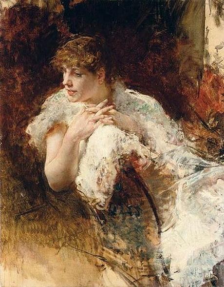 Telemaco Signorini - Portrait of a lady,