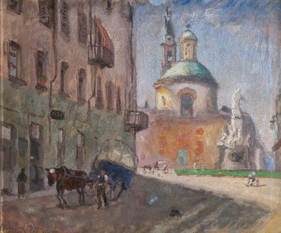 Ugo Malvano - Piazza Carlina con la Chiesa