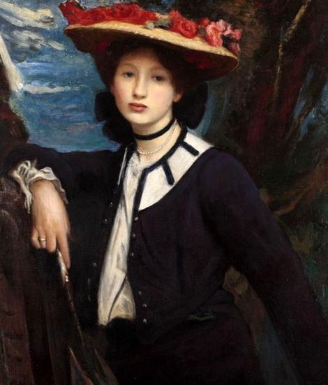 George Spencer Watson  -  Portrait d'une dame tenant un parasol