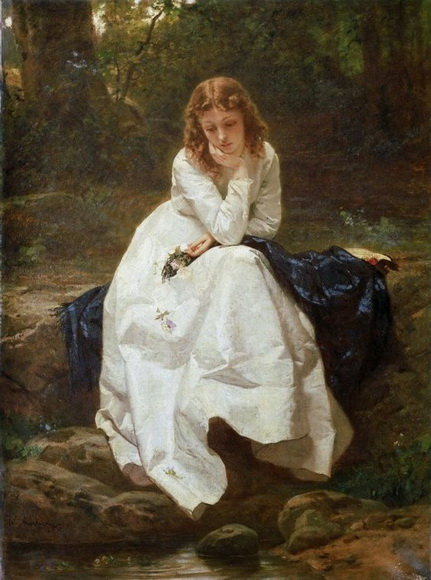 Wilhelm Amberg - Young Woman Seated by a Stream