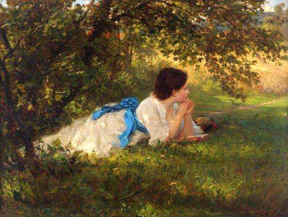 Wilhelm Amberg - Girl in a Blue Sash