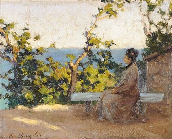 Eva Gonzales -   Femme pensive assise en bord de mer