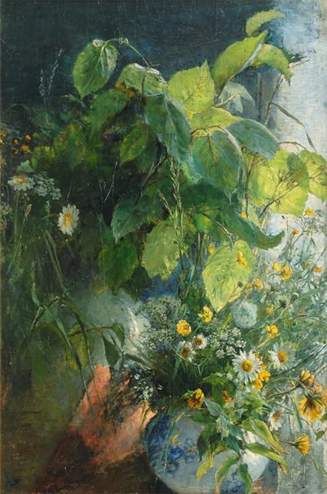 Bertha Wegmann   Still life with beech branches and flowers in a vase.