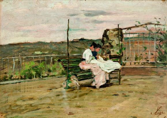 Silvestro Lega - Le cucitrici in terrazza