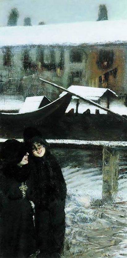Giovanni Fattori - Nevicata sul Naviglio