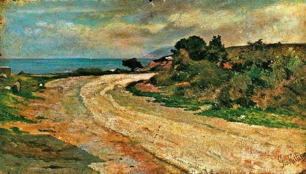 Giovanni Fattori - Road by the sea.
