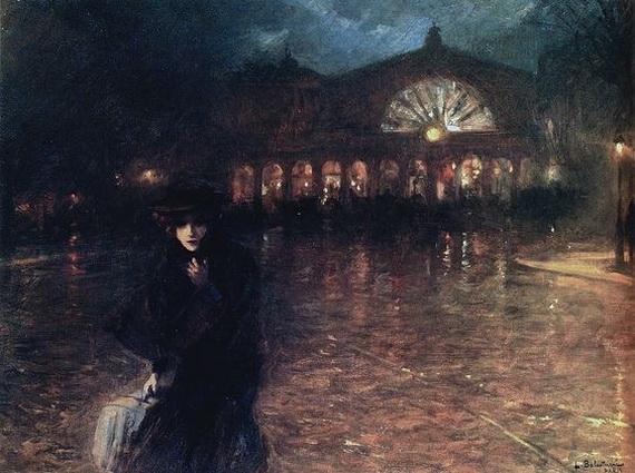 Lionello Balestrieri - Woman on a Paris Street at NIght