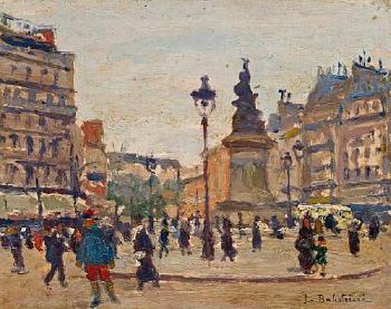 Lionello Balestrieri - A street scene in Paris