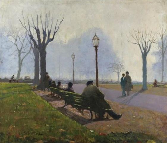 Lionello Balestrieri - pomeriggio d'autunno ai giardini