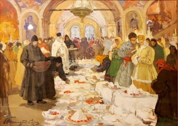 Обряд освящения куличей.И. С. Горюшкин-Сорокопудов. 1910