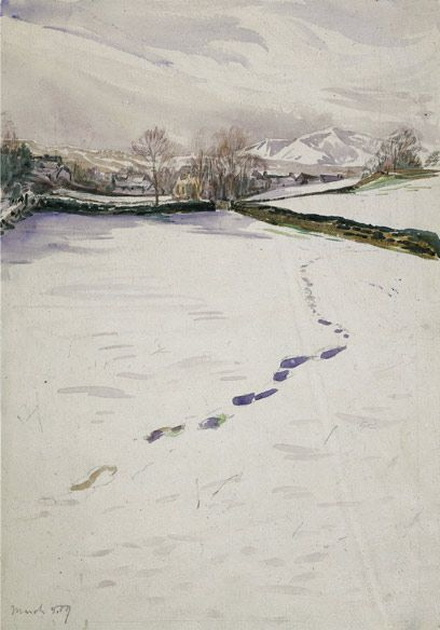 Beatrix Potter - Sketch of Footprints in Snow