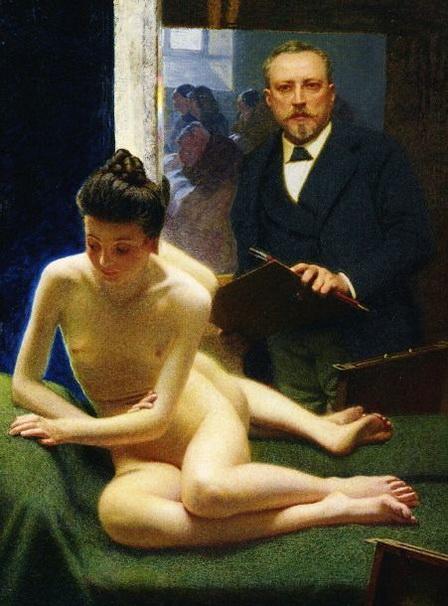 Angelo Morbelli -  Artista e modella allo specchio