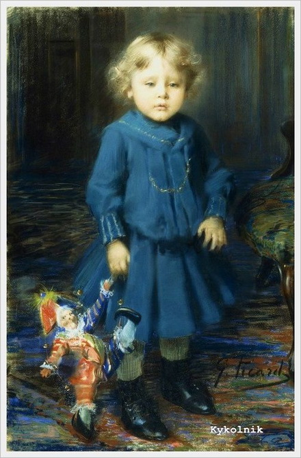 Georges Picard - Portrait of a Child with a Doll