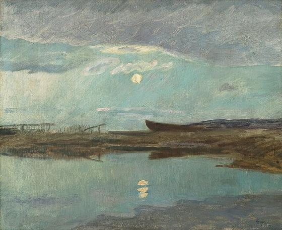 Eilif Peterssen - Coastal Landscape in Moonlight
