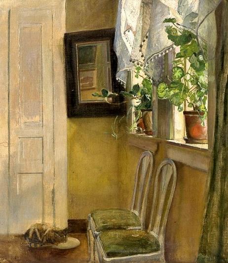 Eilif Peterssen - Interior with Cat