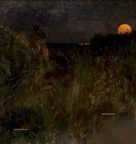 Eilif Peterssen - Moonrise over the dunes, 1883