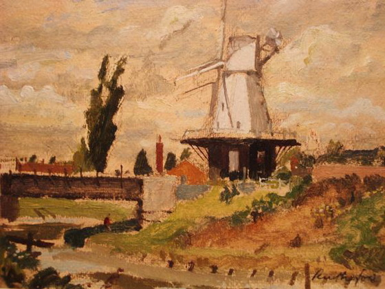 Harry Rutherford - Windmill By Canal