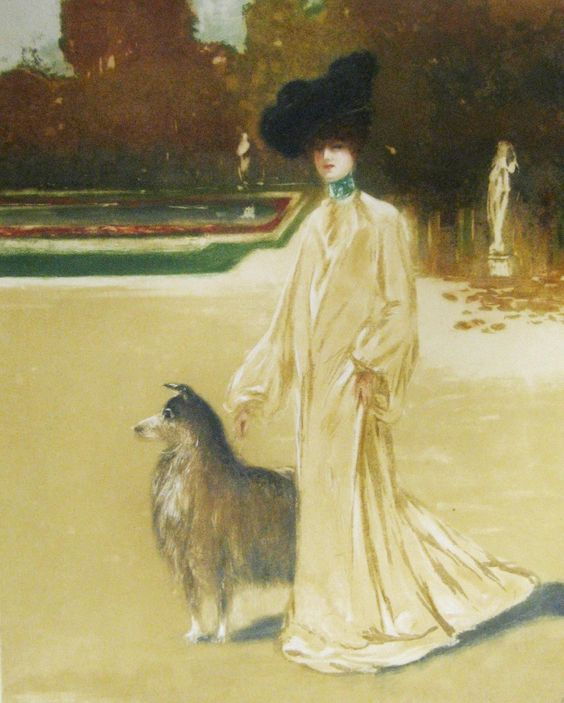 Louis Abel Truchet - The Elegant Collie in a Garden