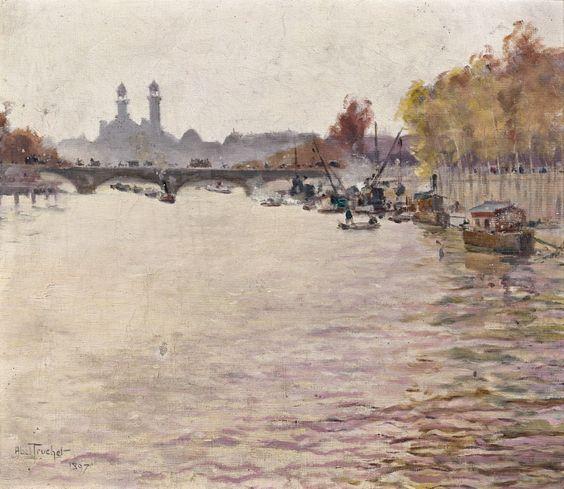 Louis Abel Truchet -  Le Palais de Trocadero vu de la Seine