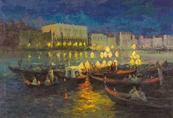 Louis Abel Truchet - Venise Venedig bei Nacht mit beleuchteten Gondeln