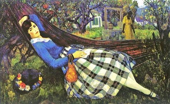 Abraham Leon Kroll - Girl in a Hammock