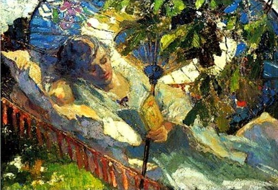 Robert Graafland - A girl reading in a hammock