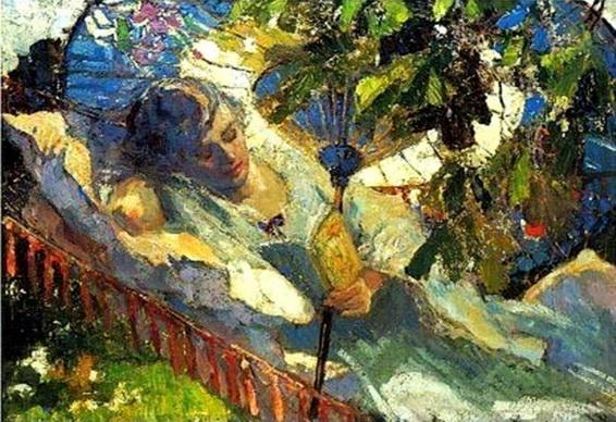 Robert Graafland - A girl reading in a hammock