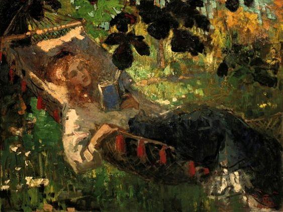 Robert Archibald Graafland - Girl Reading in a Hammock