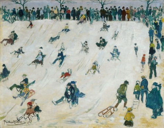 Richard Bloos - Sledding hill with sledge drivers