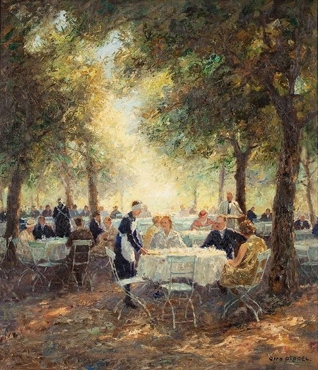 Otto Pippel - In the Garden of a Munich Cofee House