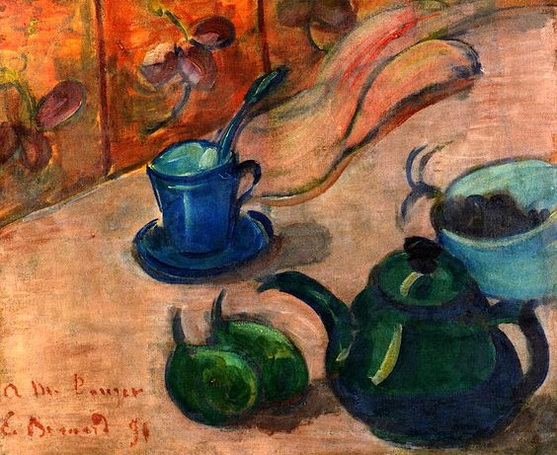 Emile Bernard - Still LIfe with Teapot, Cup and Fruit