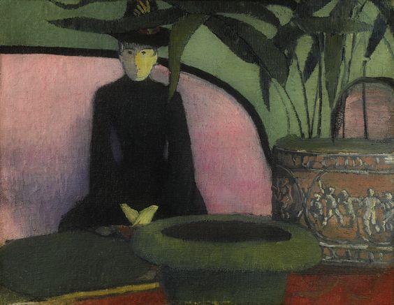 Emile Bernard - Femme Assise sur un Canape Rose