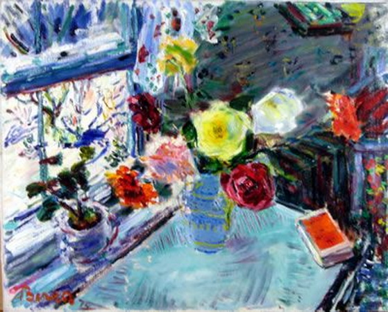Dimitrie Berea -  Flowers on the Breakfast Table in Winter