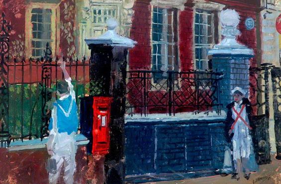 Eric Atkinson - Street Scene with Nurse