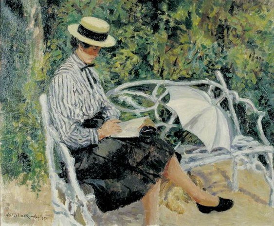 Geoffrey Scowcroft Fletcher - Jean and Rags in the Garden of Tangletrees