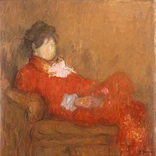 Jacques Truphemus -  Aimee lisant dans la chaise longue