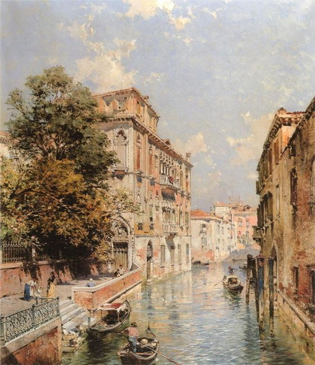 Franz Richard Unterberger - Venice A View in Venice, Rio S. Marina