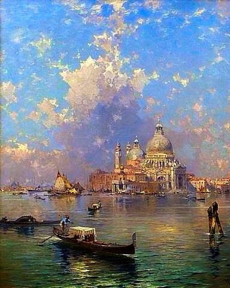 Franz Richard Unterberger - Venice Gondolas in front of Santa Maria della Salute