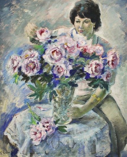 Emler Frantisek - Lady with a bouquet of roses