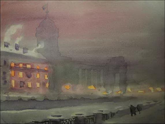 Nikolay Lapshin - Leningrad Казанский собор вечером