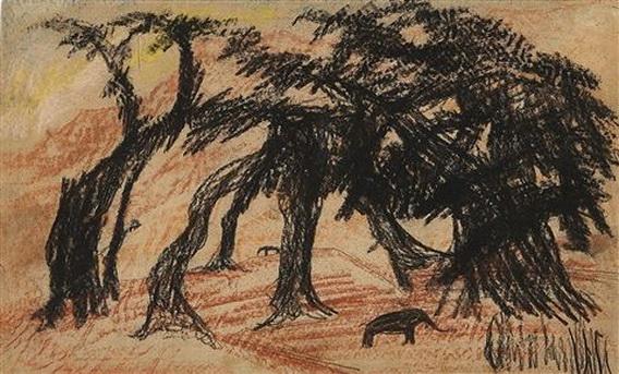 Carl Fredrik Hill - Elefanter under banjantrad